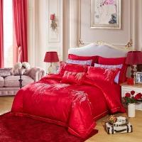 LUOLAI罗莱家纺 228纱支提花全棉八件套 婚庆纯棉床品套件床上用品床单被套 TY6187花曼·缠绵220*250红