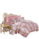 富安娜家纺 纯棉套件 床单床上用品 全棉斜纹四件套 耀如春华 1.5米床规格 标准 红色
