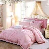 富安娜家紡 床單四件套 提花床品套件 羅納河上的星夜 1.8米床適用(230*229cm)粉色