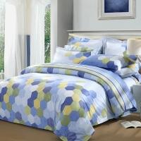 LUOLAI罗莱家纺 198纱支纯棉四件套 全棉床上用品床品套件床单被罩 AD5077跃·蓝 200*230蓝