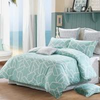 水星家紡 全棉四件套純棉 斜紋印花床品套件床單被罩被單 品格宣言(綠色) 雙人加大1.8米床