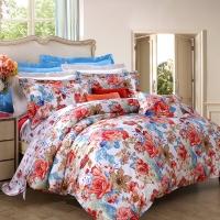 富安娜家紡 純棉四件套 床上用品全棉套件斜紋田園風 晨光絢爛 1.8米床適用(230*229cm)藍色