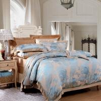 富安娜(FUANNA)床單四件套 滌粘提花床品套件 南屏雀舞1.8米床適用(230*229cm)綠色