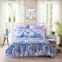 LUOLAI罗莱家纺 213纱支天丝四件套 莱赛尔床品套件床上用品床单被套 WTS5043朦胧物语 220*250蓝