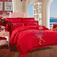 富安娜(FUANNA)家纺床上用品 全棉婚庆床单十件套 相拥幸福1.5米床适用(203*229cm)红色