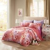 LUOLAI罗莱家纺 加厚磨毛纯棉四件套 全棉床上用品床品套件床单被罩 WAM5016暖日生香 200*230