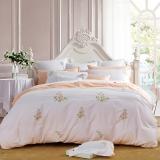 堂皇 床品家纺 纯棉绣花四件套 柔软床单被罩 四季米兰 白色 1.8米床 220*240cm