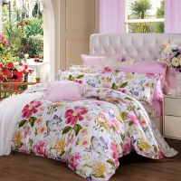 富安娜(FUANNA)家纺床品套件 纯棉斜纹床上四件套 床单被套 几米阳光1.8米床适用(230*229cm)黄