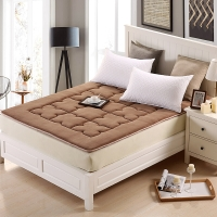 优雅100(uya100)床垫家纺 加厚珊瑚绒床褥 榻榻米褥子 床护垫 驼色 1.5米床 150*200cm