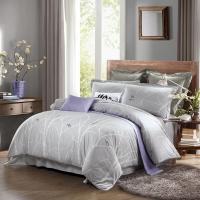 水星家纺 床上四件套纯棉 全棉活性印花床品套件 40S被套床单被罩 林间禅语 加大双人1.8米床