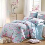 水星家纺 床上四件套纯棉 床品套件全棉被套床单被罩 田园花卉风 玉兰花园 加大双人1.8米床