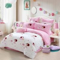 水星家纺 全棉斜纹印花床上四件套 爱神冬己 床单被罩 1.5米床