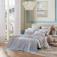 LUOLAI罗莱家纺 224纱支天丝四件套 床上用品床品套件床单被罩 WTS5048灵霏 200*230