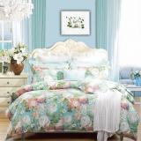 富安娜家紡 床上用品 純棉床品套件全棉斜紋活性印花四件套 晨園幽香 1.8米床適用(230*229cm)藍色