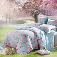 水星家纺 床上四件套纯棉 床品套件全棉被套床单被罩 田园花卉风 玉兰花园 双人1.5米床