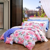 富安娜(FUANNA)家紡床品套件 純棉斜紋四件套全棉床單被套巴黎映彩1.8米床(230*229cm)紅