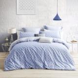 LOVO 罗莱生活出品 全棉斜纹四件套床品套件  佩吉蓝色1.8米床220*240cm
