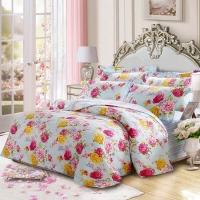 梦洁家纺(MENDALE)床品套件 纯棉印花四件套 床单款 经典花卉 花语之都 蓝 1.8米床 248*248cm