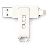 banq A50蘋果手機U盤64G 蘋果官方MFI授權認證 iPhone/iPad雙接口USB3.0手機電腦兩用U盤Plus版 珍珠銀