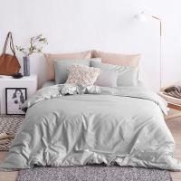 大朴(DAPU)套件家纺 A类床品 精梳纯棉四件套 简约纯色床单被罩 素色 浅灰 1.5米床 200*230cm