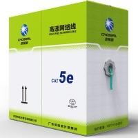 秋叶原(CHOSEAL)超五类屏蔽网线商用版(0.50线芯)抗干扰纯铜高速网线工程家装箱线绿色305米 QS2613XT305