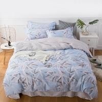 佳佰 四件套 床上用品 被套床单枕套 纯棉简约 青竹丹枫 适用1.5米双人床(200*230)