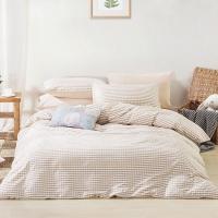 佳佰 四件套 床上用品 被套床单枕套 水洗纯棉面料 律动(玉色) 适用1.5米双人床(200*230)【京东自有品牌】