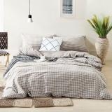 佳佰 四件套 床上用品 被套床单枕套 水洗纯棉面料 律动(米色) 适用1.5米双人床(200*230)【京东自有品牌】