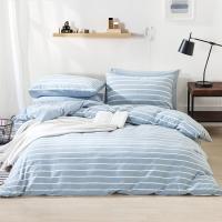 佳佰 四件套 床上用品 被套床单枕套 水洗纯棉面料 轻颜(兰色) 适用1.5米双人床(200*230)【京东自有品牌】