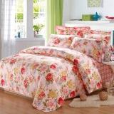 梦洁家纺(MENDALE)床品套件 纯棉印花四件套 床单款 经典花卉 花语之都 粉 1.8米床 248*248cm