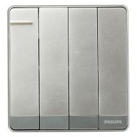 飞利浦(PHILIPS) 开关插座 飞逸系列 四开单控开关 带荧光指示 质感银