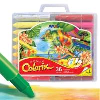 AMOS韩国进口旋转可水洗蜡笔/粉彩/水彩三合一儿童绘画工具 36色粗杆塑料盒装