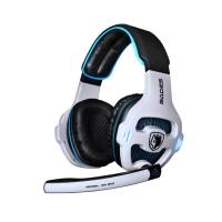 赛德斯(Sades)SA903 电竞头戴式游戏耳机(白蓝)绝地求生电脑耳机耳麦7.1声道 自带声卡吃鸡利器
