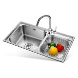 欧琳(OULIN)OLH9813水槽+龙头套餐 304不锈钢 加深款厨房大双槽