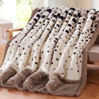 九洲鹿家纺 双层盖毯加大加厚拉舍尔毛毯 保暖秋冬毯子 米棕格 200x230cm(6.6斤)