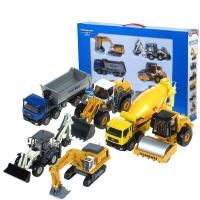 凯迪威 工程汽车模型套装系列 合金挖掘机压路机消防车吊车翻斗车儿童玩具6款套 626030