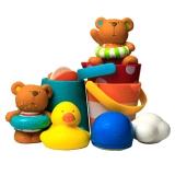 Hape 洗澡玩具? 泰迪和朋友们戏水玩偶组 花式水漏桶组合 suit0030 浴室儿童玩具
