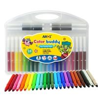 AMOS可水洗水彩笔 儿童绘画工具 24色水彩笔