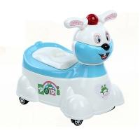 嘟迪DuDi加大号儿童坐便器男 女宝宝座便器婴儿小孩马桶 婴幼儿尿盆 兔子音乐坐便器蓝 滑轮