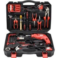 卡夫威尔 400W13mm家用电钻 冲击电钻 工具箱 工具套装 工具包 家用维?#34224;?#20855; 94件套 P1044A