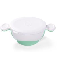 小介嘟(KIDOKARE)儿童餐具碗婴幼儿碗宝宝碗防滑双耳带盖学习碗 粉绿色 KK-08