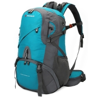 SWISSGEAR登山包40L 时尚旅行双肩包 防水防刮运动包户外登山双肩背包配防雨罩 JP-3140II 墨绿/灰色
