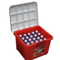 安马(Amausa)家车多用途密封后备箱居家收纳置物箱杂物整理箱 R400 28升 红色