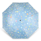 百盛洋伞 水波圆点遇水遇热变色晴雨伞黑胶防紫外线UPF50+遮阳伞 7392G 浅蓝