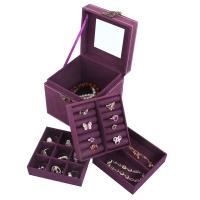拉薇 RSC 绒布三层珠宝首饰盒 带锁扣饰品收纳盒