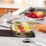 乐美雅(Luminarc)钢化玻璃碗花岗岩双耳玻璃碗沙拉碗(带盖)1.5L H1583