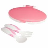 小介嘟(KIDOKARE)儿童餐具盒装勺叉婴幼儿盒装便携勺叉套装 粉红色 KK-10