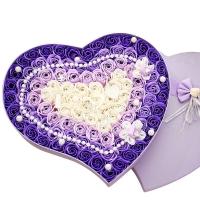 I'M HUA HUA100朵紫色玫瑰花香皂花禮盒保鮮花速遞圣誕節生日禮物情人節送女生女友漸變
