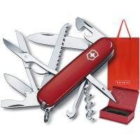 维氏VICTORINOX瑞士军刀 都市猎人礼盒(15?#27490;?#33021;)红色光面1.3713