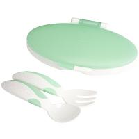 小介嘟(KIDOKARE)儿童餐具盒装勺叉婴幼儿盒装便携勺叉套装 粉绿色 KK-10